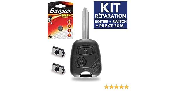 Kit iRace Keys/® Coque Plip Boitier pour T/él/écommande Cl/é Citroen C1 C2 C3 Picasso Berlingo Saxo Xsara ✚ Pile CR2016 Energizer