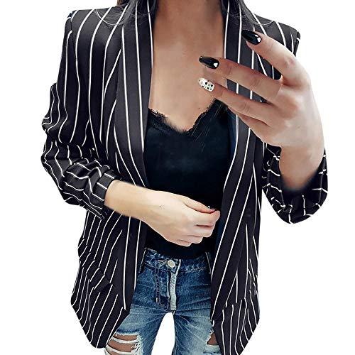 Vovotrade Long Blazer Kragenlos Damen Frauen Schwarze weiße Gestreifte Wasserfall Coat Freizeitjacke Blazer Damen Blazer Jacke Mantel Herbst Winte