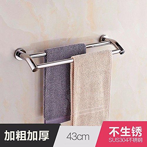 Dreamingces Doppio 43cm bagno asciugamani acciaio inox asciugamani da bagno cremagliere mensola appendiabiti double-grucce stile (Contemporanea Per Porte Scorrevoli)