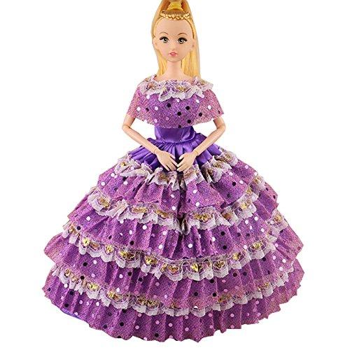 Robe rose belle fête élégante main pour Little Toy Doll, Violet