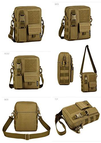 Taktisch Molle Umhängetasche, 6 Farben Outdoor Kamera Daypack Rucksack Handtasche Schultertasche mit Trageriemen von FLYHAWK K316-Braun