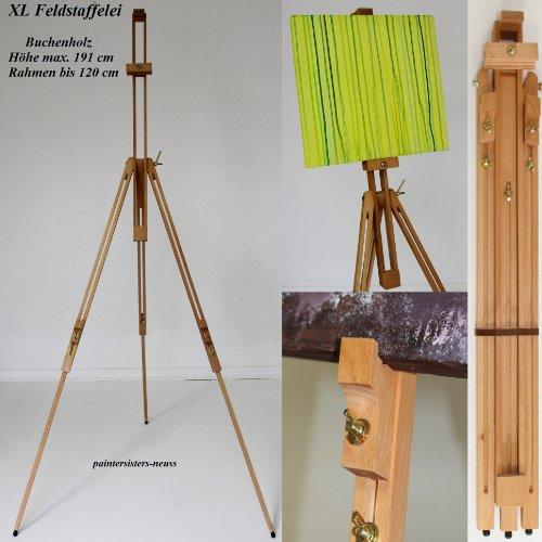 XL Profi- FELDSTAFFELEI aus BUCHENHOLZ, STAFFELEI für KEILRAHMEN - 120 cm, vom KÜNSTLERPROFI