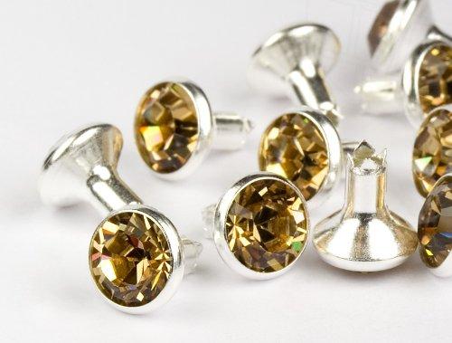 Chaton-Nieten von Swarovski Elements SS34 (Light Colorado Topaz, Silber) - 4mm Schaft, 10 Stück