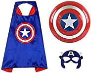"VOGUESS Captain America 12"" Shield + Blue Cape Cosplay Set, Cartoon Superhero Dress up Costumes Suit, Pla"