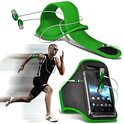 ( Schwarz ) Cubot Manito bei hoher QualitŠt ausgestattet, Armbinden Sport Laufen Radfahren Bike Fitness Jogging befreien Armband HŸlle, Case Cover von i-Tronixs Armband + earphones (Green)