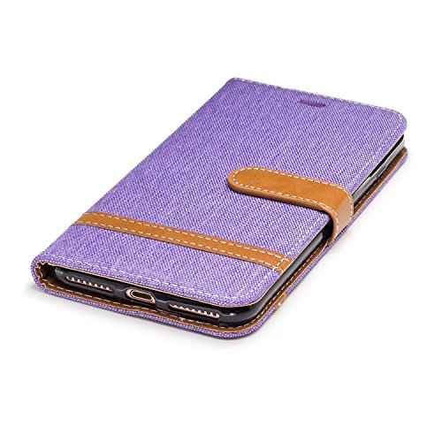 Custodia per Apple iPhone 7 Plus, ISAKEN iPhone 7 Plus Flip Cover con Strap, Elegante Bookstyle Contrasto Collare PU Pelle Case Cover Protettiva Flip Portafoglio Custodia Protezione Caso con Supporto  Marrone+viola