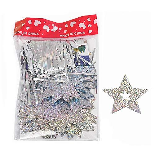 Palloncini in cartoncino a forma di stelle, ideali per San Valentino, decorazioni da appendere per feste di matrimonio Silver