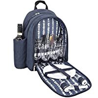 GEEZY Denim Picnic Cooler Bag Backpack Wine Bottle Insulated Picnic Cool Carrier (4 Person Backpack)