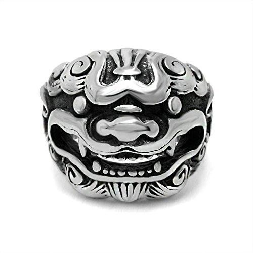 Anyeda Männer Ringe Edelstahl Totenkopf Aminal Ring Schwarzes Silber Ringe für Charms Ringgröße 60 (19.1)