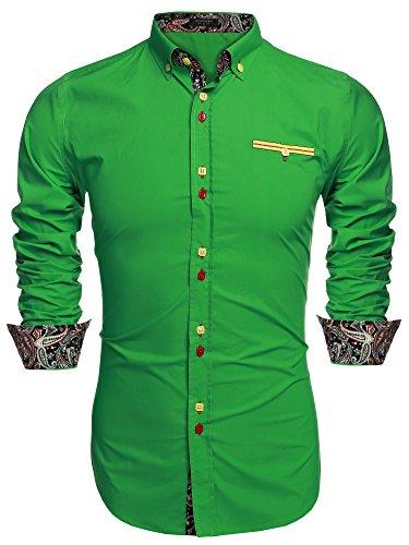 Coofandy camisa casual manga larga para hombre de moda verde talla-3xl