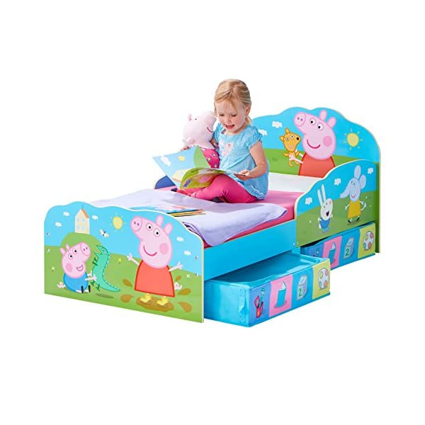 HelloHome Peppa Pig Toddler Bed with Underbed Storage, Wood, Multi, 142 x 77 x 63 cm  Perfect for transitioning your little one from cot to first big bed The perfect size for toddlers, low to the ground with protective side guards to keep your little one safe and snug Two handy underbed, fabric storage drawers 8