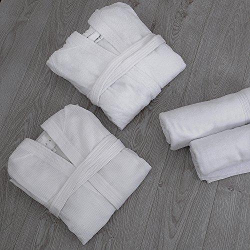 Leicht 100% Baumwolle Unisex Frottee Spa Bademantel mit Kapuze in weiß, L (Terry Hooded Roben Spa)
