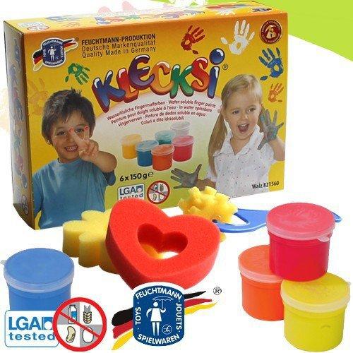 feuchtmann-633-0626-childrens-finger-painting-klecksi-pots-6-pots-with-150-g-each-paint-for-fingers-