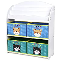 Homfa Kids Bookcase Toy Storage Units Childrens Bookcase Bookshelf with 3 Tier Shelves and 4 Toy Boxes 82.5x29.5x97.5cm