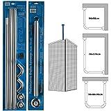 Shower Rails Rail coudé en 3parties pour cabine de douche, Silver Rail + Support