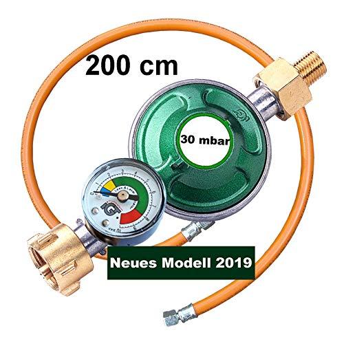 Gasregler 30 mbar Druckminderer Druckregler mit Manometer und Schlauchbruchsicherung Gasschlauch 200 cm