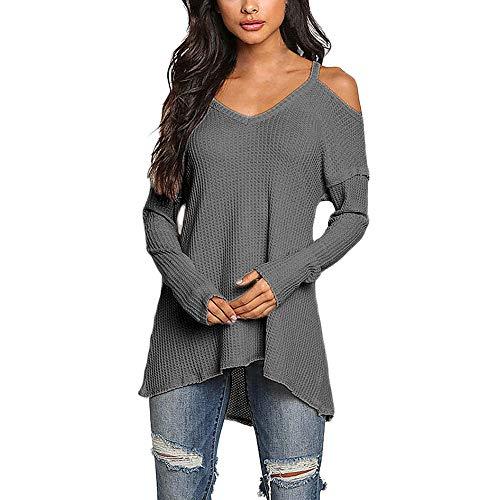 (Jacken, Mäntel & Westen Honestyi Damen Casual V Ausschnitt Tops Langarm Cold Shoulder T Shirt T Shirt(M,Grau))