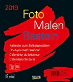 Foto-Malen-Basteln Bastelkalender schwarz 2019: Fotokalender zum Selbstgestalten. Do-it-yourself Kalender mit festem Fotokarton. Format: 21,5 x 24 cm