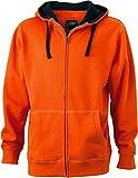 James & Nicholson Herren Lifestyle Zip-Hoody Sweatshirt, (Dark-Orange/Navy), Medium