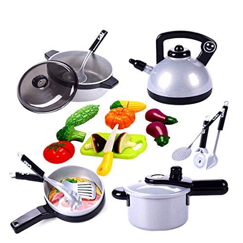 tik Kinderküche Geschirr Kochgeschirr Kinder Kochutensilien Kinderküche Küchenspielzeug für Kinder 3-7 Jahre ()