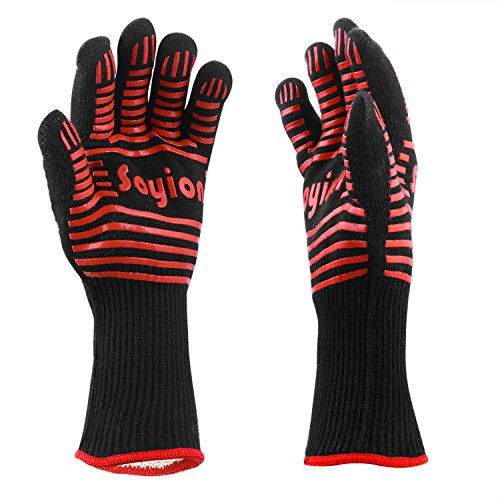 Soyion 932�F Extreme Heat Resistant Gloves,Kitchen Silicone Gloves Five Fingers,BBQ Grilling Cooking Gloves Heat Proof Oven Gloves Set - 1 Pair (Red)
