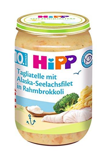 HiPP Tagliatelle mit Alaska-Seelachsfilet in Rahmbrokkoli, 6er Pack (6 x 220 g)