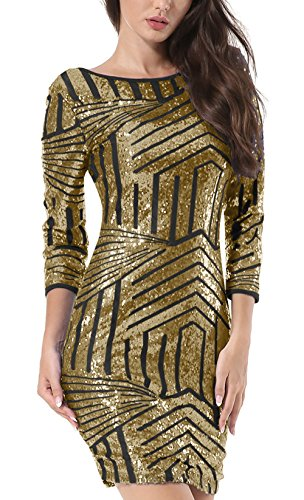 Yidarton Damen Paillettenkleid Langarm Rundhals Backless Partykleid Ballkleid Abend Minikleid (Gold, Small) - 2