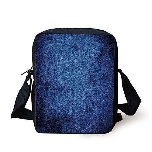 Navy Blue Decor,Martian Alien Skin Like Dark Blue Contemporary Interesting Design Art Print,Dark Blue Print Kids Crossbody Messenger Bag Purse -