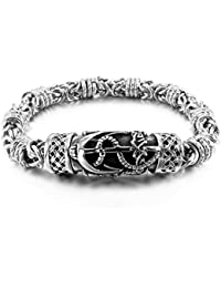 MunkiMix Stainless Steel Bracelet Link Wrist Silver Tone Anchor Nautical Celtic Cross Magnetic Clasp Men
