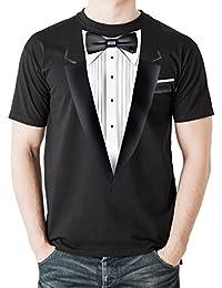 NEUVO - SMOKING TUX - Camisetas Negro Algodón Hombre - Calidad Superior Tuxedo Regalo (large)