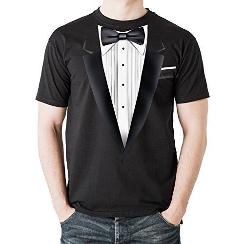 NEU - Schwarz Smoking Tux - Herren Schwarz Baumwolle T-Shirt - Top Qualität - Kostüm (X-Large)