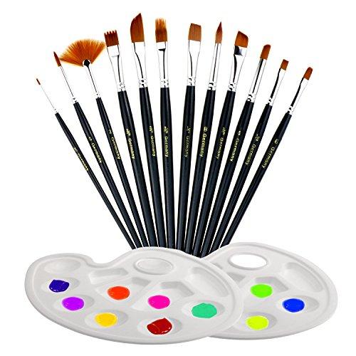 TedGem 12 Künstlerpinsel, 2 Mischpalette, Wasserfarben Pinsel Set, Pinsel Mit Palette Malerei/Paint Tray Palette Künstler Malerei Pinsel-Set für Anfänger, Kinder, Künstler (schwarz) (Tray 12 Paint)