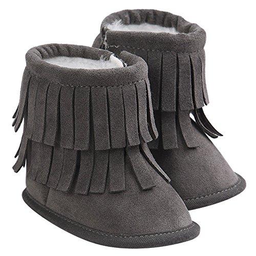 Gosear Kinder Kleinkind Mädchen Jungen Winter warme Schneestiefel Quasten Getrimmte Stiefel Schuhe Krabbelschuhe Babys Schuhe für 12-18 Monate Dunkel Grau