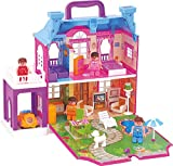#7: Happy GiftMart 40 pc Doll House with 4 Poseable Person and Full Furniture and Lights & Easy to Carry
