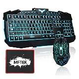 Gaming Tastatur und Maus Set, MFTEK USB LED 3 Farben (Blau/ Hellblau/ Grün) Hinterleuchteten Beleuchteten QWERTY Tastaturen und 6 Tasten Maus Combo für Laptop Gamers - (US Tastaturlayout, Schwarz)