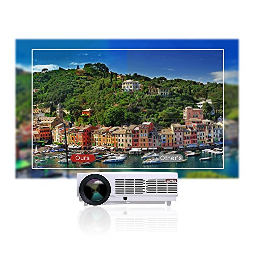 Get Projector, Video Projector HD 1080p 3300 Lumen LCD Projectors 1280*800 Multimedia Home Cinema Theater Support HDMI USB VGA Laptop Smartphone for Games and Parties (White) on Line