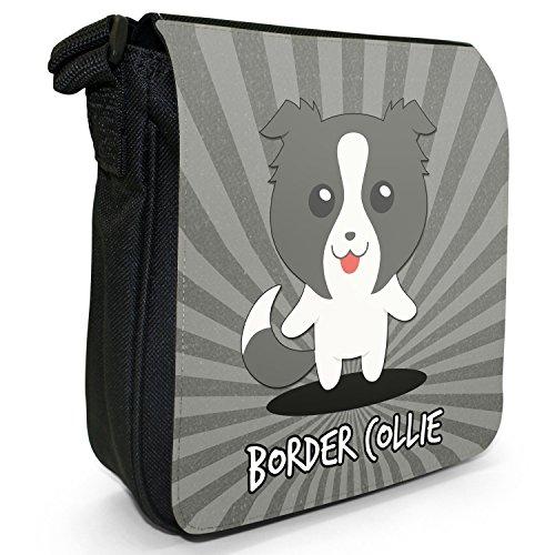 Scozzese Cartoon cani piccola borsa a tracolla tela nera, misura piccola Border Collie