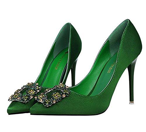 XINJING-S Strass High Heels Schuhe Party Hochzeit Frauen Pumps Heels Kleidung Schuhe GWS064 Grün