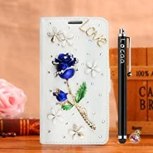 Locaa(TM) For Apple IPhone 5C Iphone5C Rosa 3D Bling Case Funda 3 IN 1 Accesorios Protector Phone Cover Cas Shell Caso Alta Calidad Piel Cuero Para Bumper [Rosa 1] Blanca - Rosa Azul