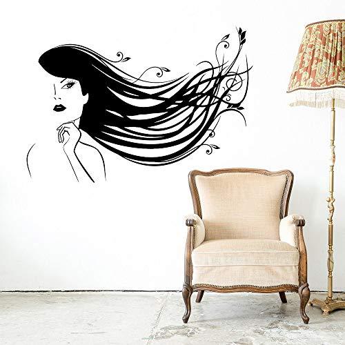 hetingyue Friseursalon Aufkleber Wandaufkleber Friseursalon Frisur Frau Schönheit Friseur Aufkleber 102x72cm