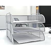 Malla ejecutiva con bandejas de carga frontal de archivo para documentos, papel carta, malla de alambre de almacenamiento de 3 niveles, color plata