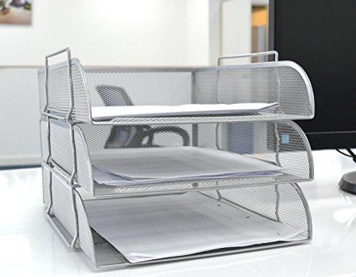 Silber Füllung Netz Vorne Laden 3Tabletts Buchstabe Datei Storage Rack Holder Tray Organizer Desktop Büro -