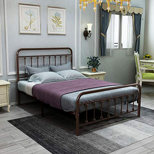 Double Size Metal Bed Frame Platform with Vintage Headboard and Footboard Sturdy Premium Steel Slat Support Bronze