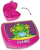 alles-meine.de GmbH Lunchbox / Brotdose -  Lustiger Frosch  - Incl. Name - mit Extra Einsatz / h..