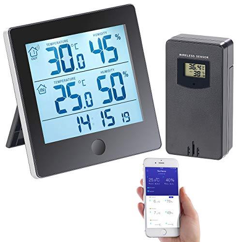 infactory Funk Außensensor: Thermo-/Hygrometer-Datenlogger mit Außensensor, Bluetooth & App (Digitale Thermometer Hygrometer)