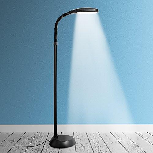 Kenley Stehlampe Leselampe 12W LED Dimmbar - Modern Deckenfluter Standleuchte Standlampe Stehleuchte Energiesparend Tageslichtlampe für Schlafzimmer Oder Wohnzimmer - Flexibler Hals - Weiß Tageslicht