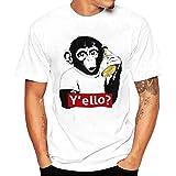 LUCKYCAT Sommer Fashion Tier Print T-Shirt mit kurz Ärmel für Herren, Weiß Cool Causal langarm T-Shirt