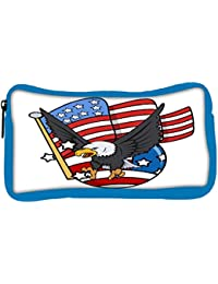 Snoogg Eco Friendly Canvas Eagle And Us Flag Celebration Patriotic Design Student Pen Pencil Case Coin Purse Pouch...