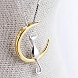 Image of Elistelle Gold Mood Fashion Fine 925 Silver Cats Moon Pendant Necklace Romantic Charm Alloy Chain Necklaces Cute Women Jewelry Gifts Accessories
