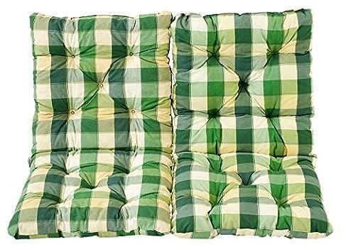 Ambientehome Lot de 2 Coussins à carreux pour Fauteuil de jardin HANKO Vert 98 x 50 x 8 cm 90622